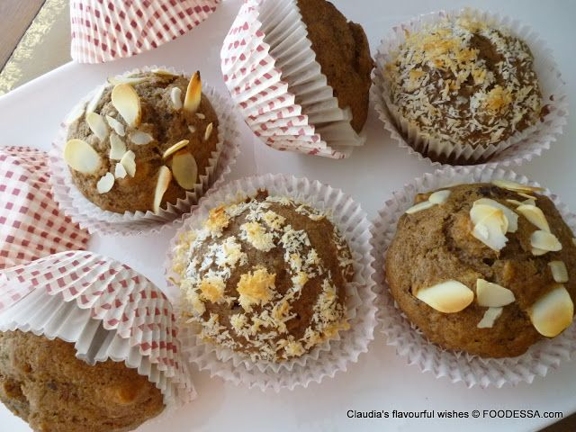 Banana coffee DATE nut spice muffins. Based on a Date-walnut loaf ...