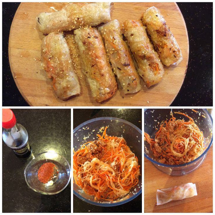Teriyaki chicken spring rolls. Sauce: garlic, chilli paprika, soya ...