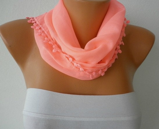 Candy Pink Scarf  Cotton  Scarf  Headband Necklace by fatwoman, $15.00
