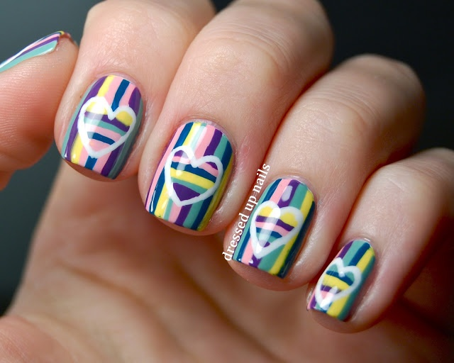 Dressed Up Nails - striped hearts on stripes Valentine nail art