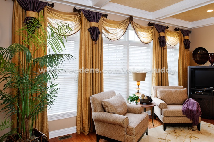 Elegant family room window treatments swags pinterest Elegant window treatment ideas