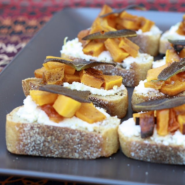 Butternut Squash, Ricotta, and Sage Crostini... perfect little ...