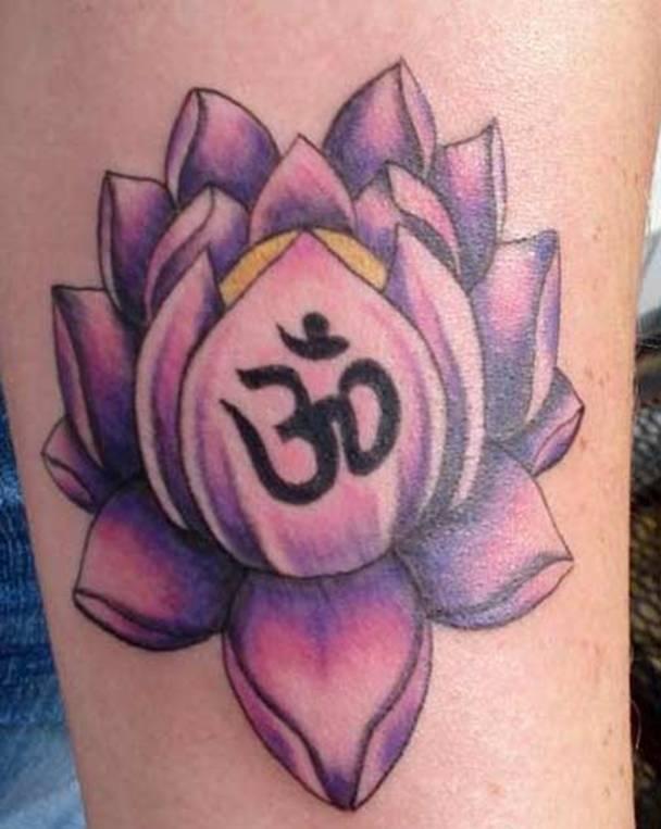 ohm purple lotus flower tattoo design tattoos pinterest. Black Bedroom Furniture Sets. Home Design Ideas