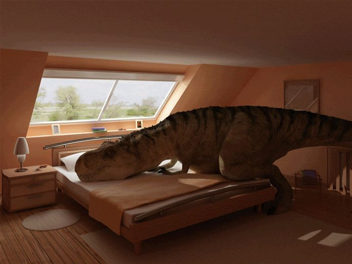 T Rex Making A Bed Image