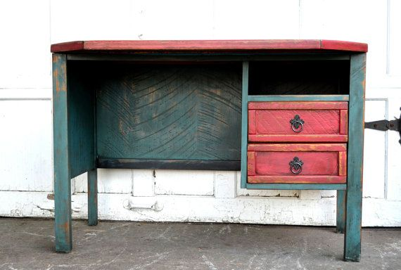 distressed furniture hand painted using chalk paint aqua and red desk