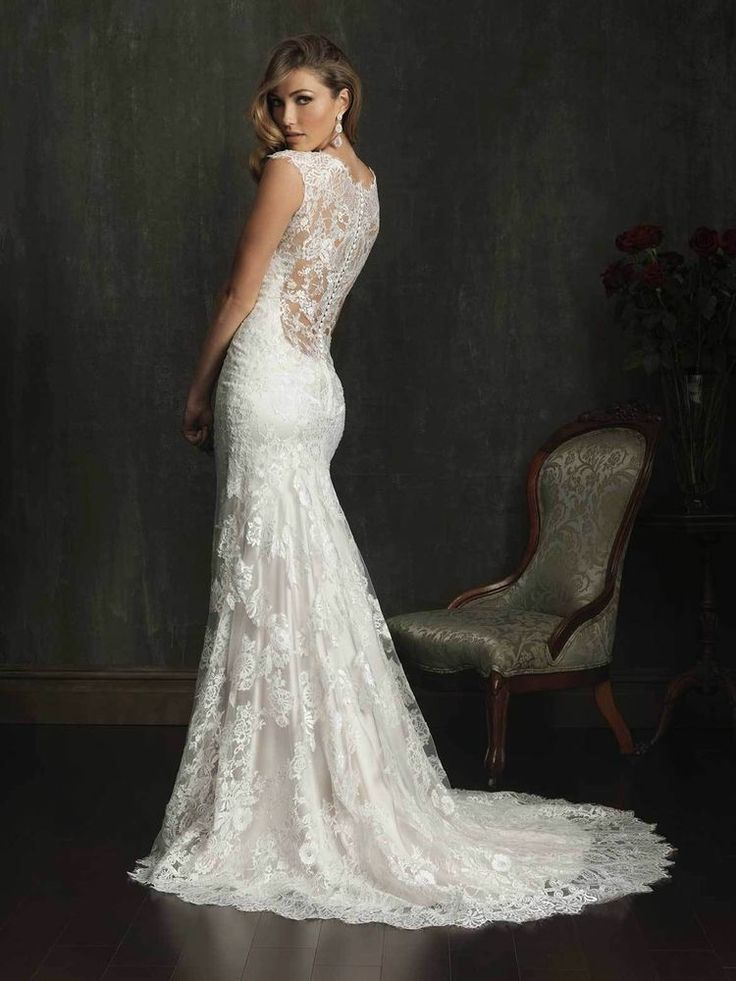 Allure wedding gown lace illusion back for Lace illusion back wedding dress