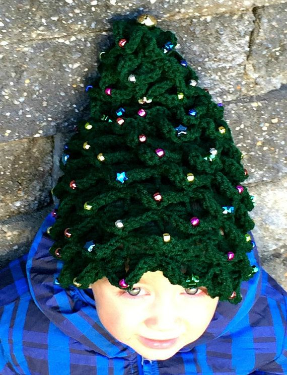 Free Crochet Christmas Tree Hat : CROCHET PATTERN Beaded Christmas Tree Hat Instant Download ...