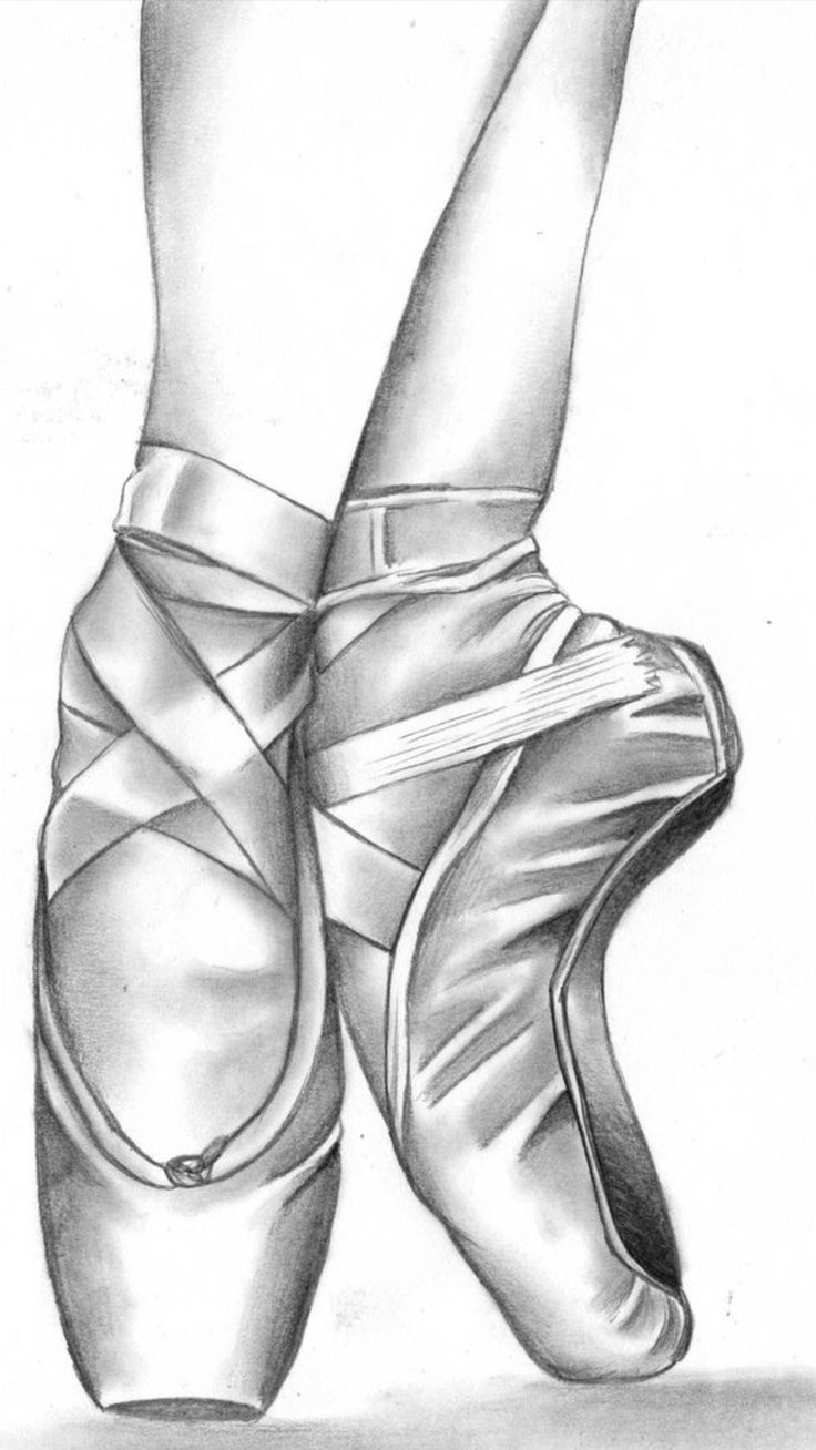 Pointe shoes drawing hanging