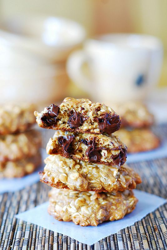 Thick and chewy banana oatmeal cookies with chocolate chips.
