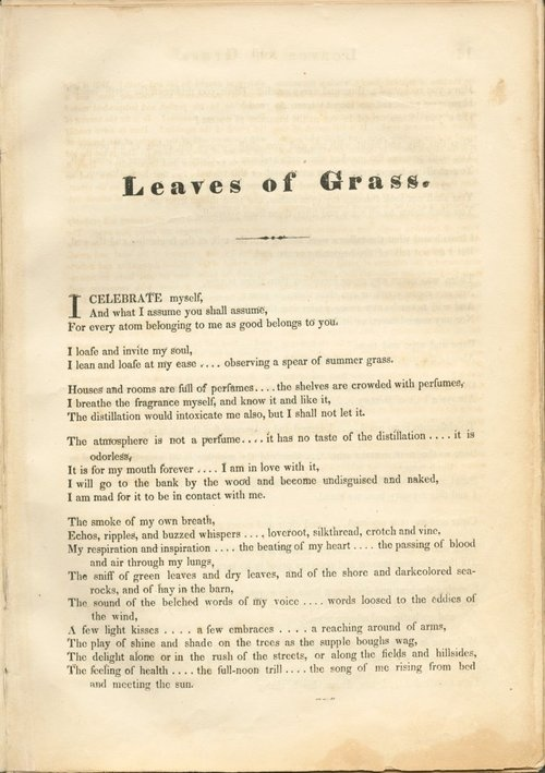 """a review of walt whitmans poem leaves of grass He published the book without an author name on the title page, announcing himself only in the midst of his long opening poem as """"walt whitman, an a review on sept 3 about two books by walt whitman misstated the academic status of zachary turpin, who wrote the books' introductions he is an."""