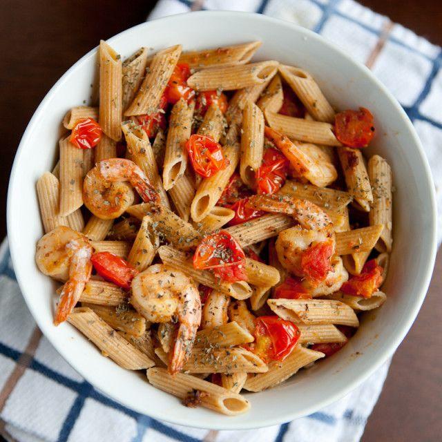 Garlic Shrimp Pasta with Tomato and Basil..... Thank god for ...