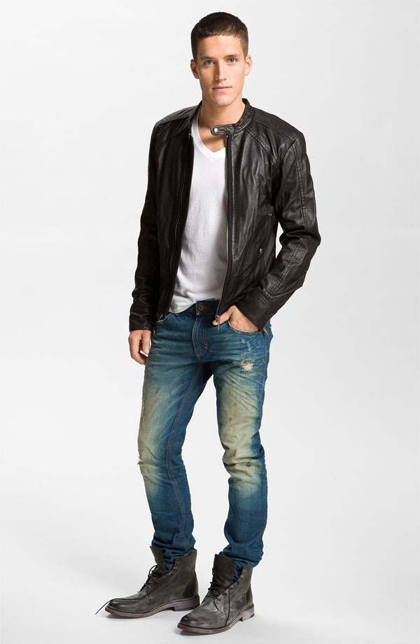 Diesel leather jacket t shirt jeans inspired men 39 s for Leather jacket and shirt