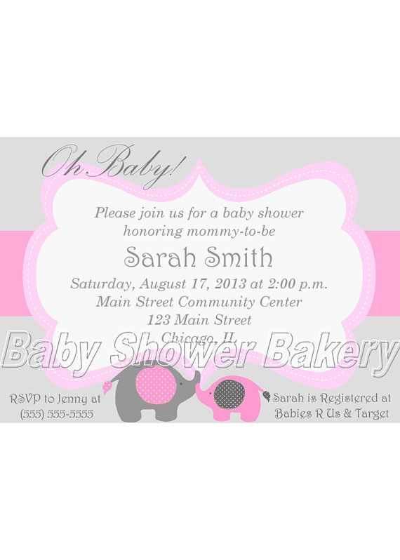pink grey elephant invitations for baby girl showers pink