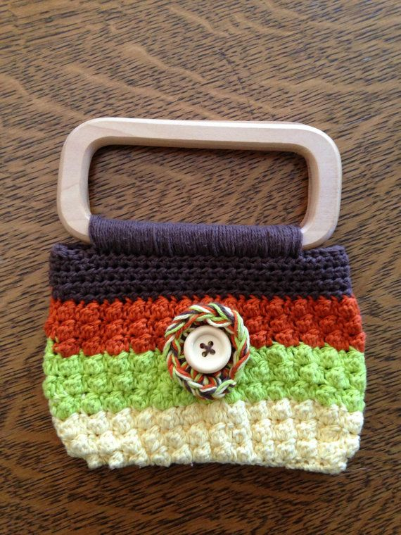 Crochet Purse Patterns With Wooden Handles : Small crochet purse- lined with wood handles on Etsy, $20.00