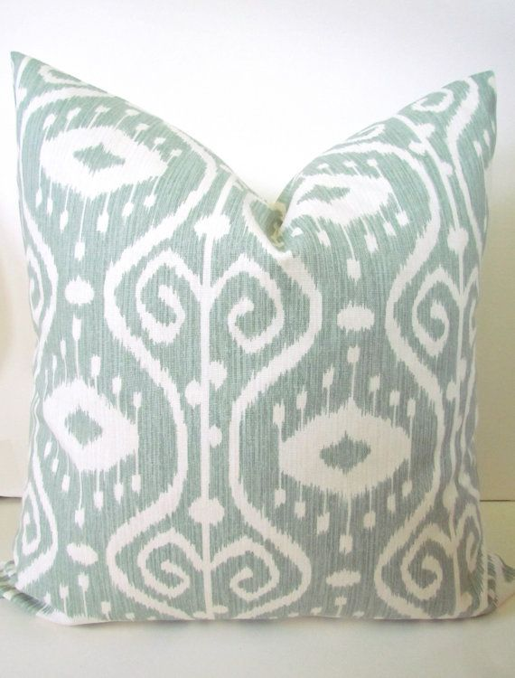 Sale THROW PILLOW Covers Sage Gray Green Ikat 16x20 or 12x20 Lumbar D?