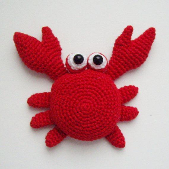 Crochet Amigurumi Crab : PDF PATTERN crochet flat amigurumi little toys