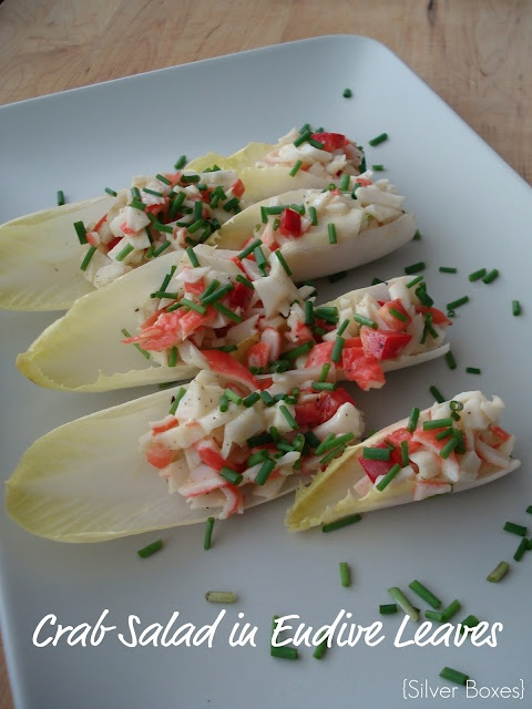 Crab, Avocado, Pomegranate Salad In Crisp Endive Leaves ...