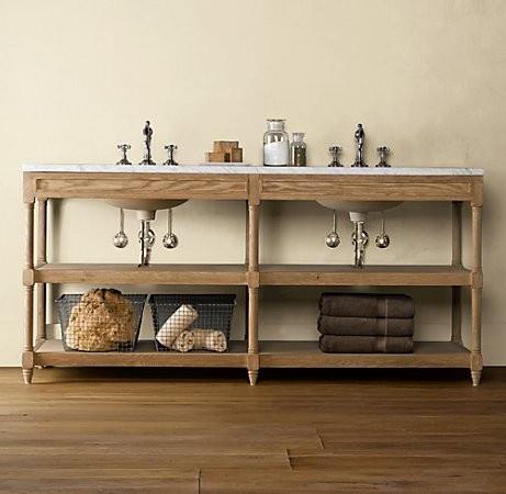 vanity wood and open shelf bathtastic