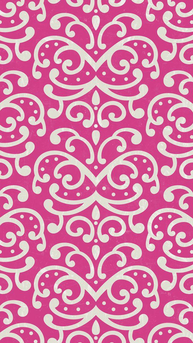 iphone 5 wallpaper - #pink #damask #pattern