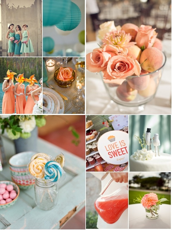 sweet teal & robin egg blue and peach & cream wedding color palette inspiration. Watermelon Red Juice accents for contrast.