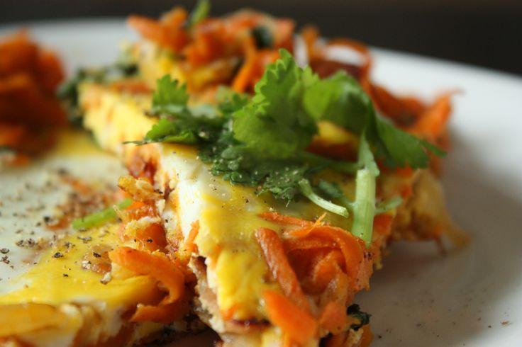 Sweet potato, caramelized onion & bacon frittata: begin frying off the ...