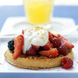 Honey Yogurt And Mixed Berries With Whole-Grain Waffles | Delicious ...