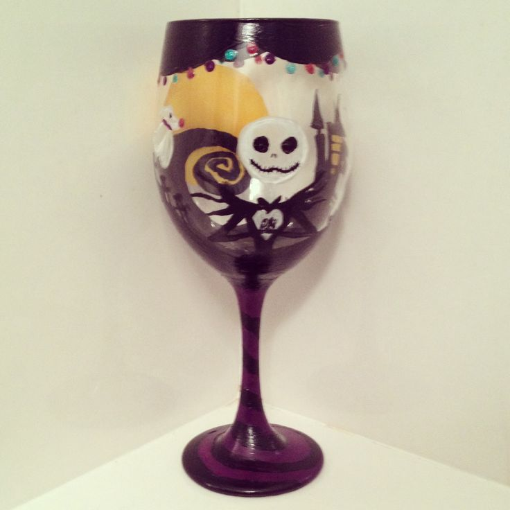 Nightmare Before Christmas Wine Glass! | Nightmare before Christmas o ...