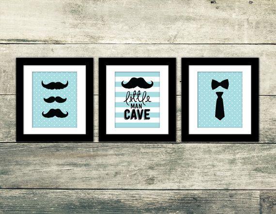 Little Man Cave Wall Art : Little man cave mustache wall art set of premium