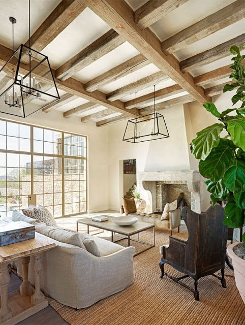 Exposed beam ceilings new house remodel ideas pinterest for Exposed beam ceiling living room