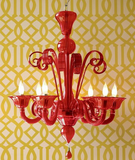 Murano Glass Chandelier (1920) in Red.