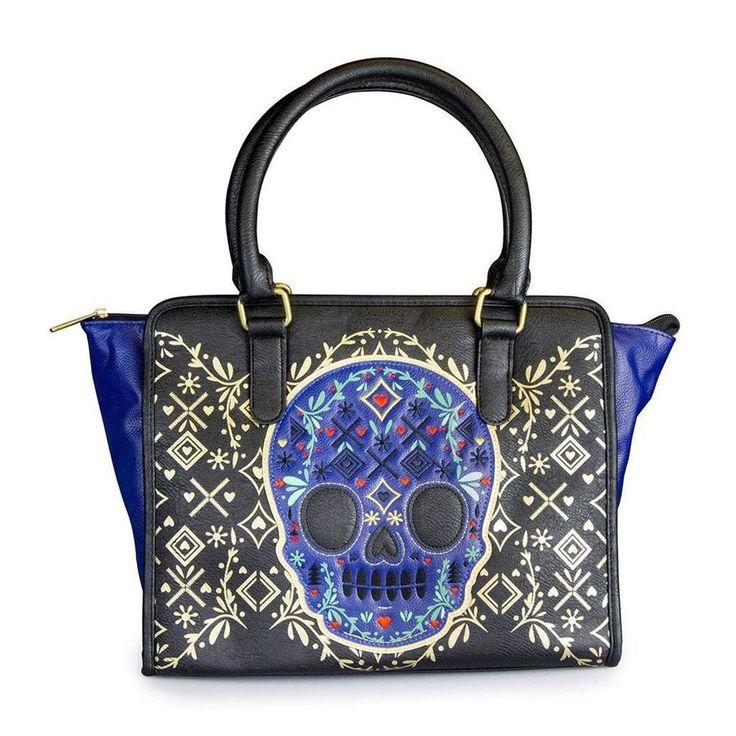 ... Black Purse Blue Skull with Metallic Print Bag Satchel Handbag Tote