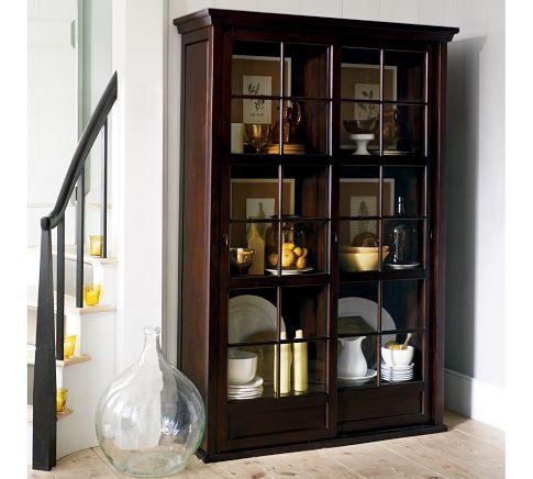 Garrett glass cabinet pottery barn house ideas pinterest for Dining room glass cabinet