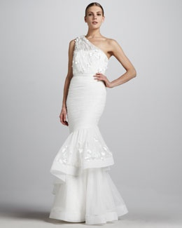 modern wedding dress with delicate sheer sleeves addie monique lhuillier