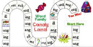 word families Candyland.  website has such cute ideas for centers!
