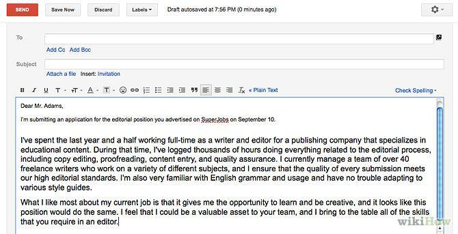 Job Application Letter Via Email Sample