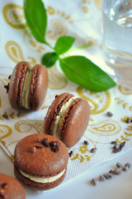 Pistachio - Cocoa Nib Macarons With Bourbon Buttercream Recipe ...