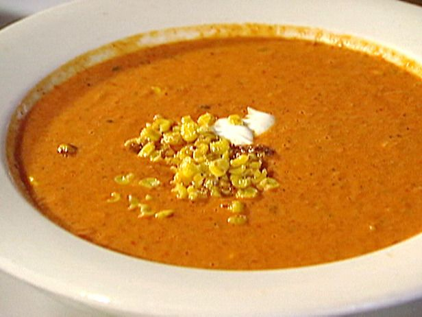 Cream of Roasted Red Bell Pepper Soup with Roasted Sweet Corn and Cil ...