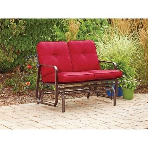 New Red Outdoor Glider Bench Patio Furniture Poolside Deck Balcony Ya