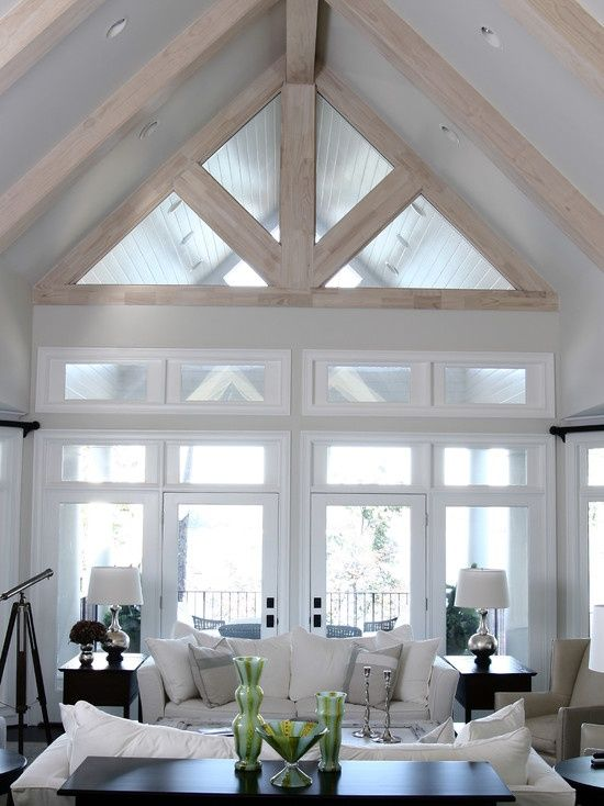 White living room with vaulted ceiling modern farmhouse for Living room vaulted ceiling