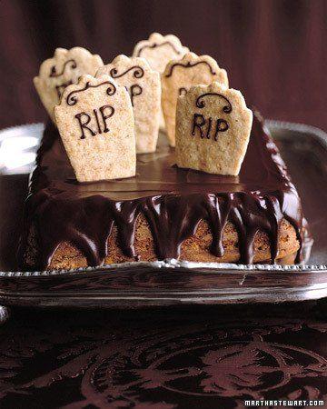 Graveyard cake -- a pumpkin spice cake with bleeding chocolate glaze ...