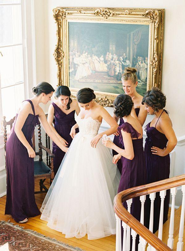 plum Amsale bridesmaid dresses  Purple Wedding  Pinterest