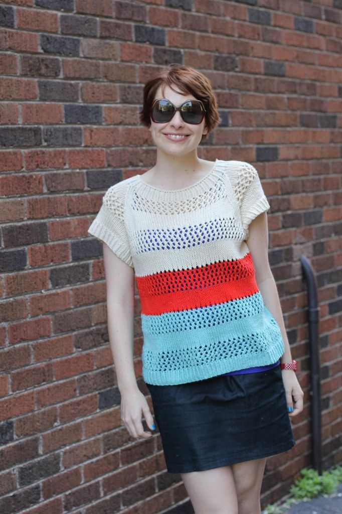 Lace Striped Summer Sweater