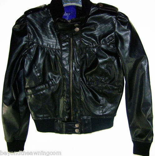 MILEY CYRUS Azria Faux LEATHER Black JACKET Junior Sz L Bomber ...