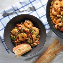 Chile-Spiked Shrimp and Beans with Basil and Pistachios...what's not ...