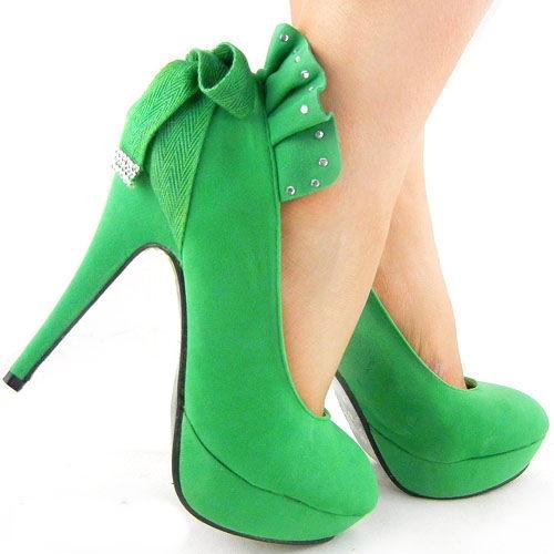 green high heel shoes lighter green