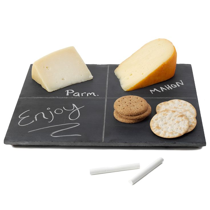Who wouldn't love a lesson in cheese? With this clever cheese board made of reclaimed chalkboards from Franklin Elementary School in Quincy, Illinois, you'll never mix up the Jarlsberg and Swiss again. Features reclaimed wine cork feet to keep them from slipping and scratching the table. Divided into four sections. Includes a piece of chalk. Handmade in Wisconsin.