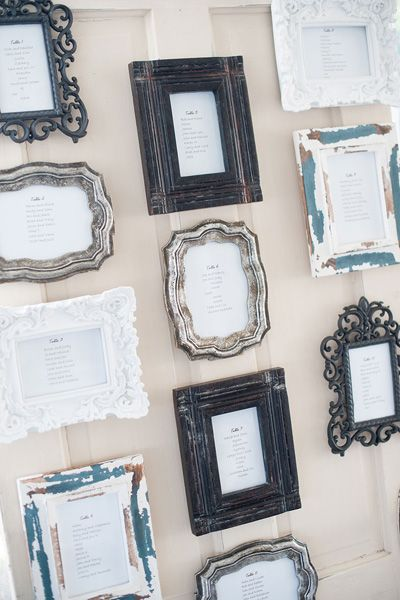 Instead of one large seating chart, individual frames for each table makes for a decorative display. For larger weddings, consider grouping tables in alphabetical order or by relationship to the couple to make it easy for guests to locate their spot.