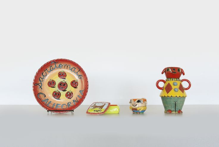 The Davis-based artist Heidi Bekebrede displays her warm sense of humor in her Cuteware. Each whimsical piece is individually high fired and then low fire glazes are applied.