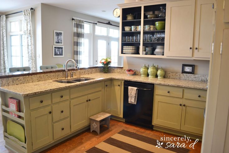 Kitchen cabinets painted with Annie Sloan Old Ochre and Annie Sloan