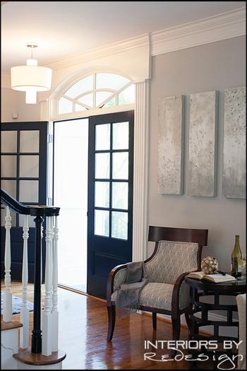 Foyer with dark navy blue front door house pinterest